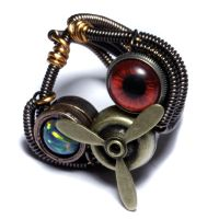 Steampunk Airship Pirate Ring :Propeller, Eye,Opal by CatherinetteRings