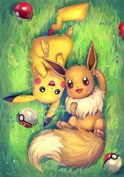 Eevee and Pikachu by Yuuza