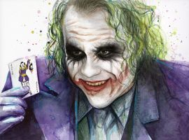 The Joker, Watercolor Batman Fan Art by Olechka01