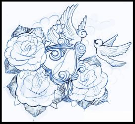 swallows and locket tattoo design by thirteen7s