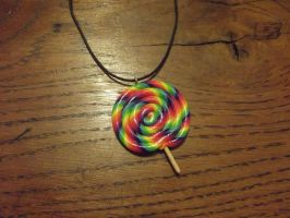 Rainbow lollipop necklace by MeticulousBlue