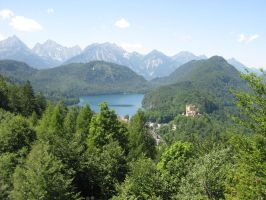 Mountains, lake, castle 02 by MGfx-stock