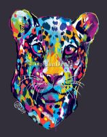 Color-Splash Leopard Sticker by GoldenDruid