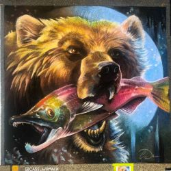 Grizzly Bear Salmon Chalk Art by charfade