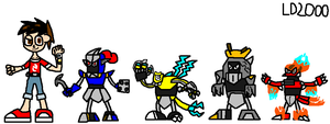 Kit, Aquwar, Zapzird, Rockon and Flazor by Luqmandeviantart2000