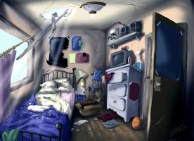 Destroyed Bedroom by RobTariArt