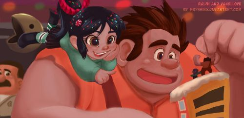 Ralph and Vanellope by mayshing