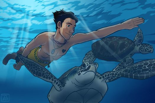 Jack and the Sea Turtles by pirate-trish