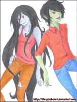 Marceline and Marshall Lee by khryztal-dark