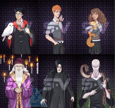 Harry Potter characters commission by SebasVishno