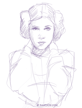 Carrie Fisher as  Princess Leia by Samthor