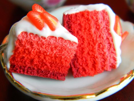 Red Ombre Cake Slice Charms by Xiiilucky13
