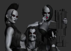 Lobo scene black and white render. by synn1978