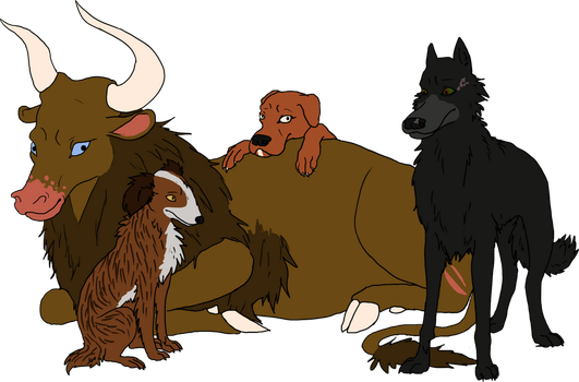 Some Dogs and an Ox group picture by CorvusRaven