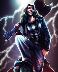 Roller Derby Portrait: Zapped Wylde by Of-Red-And-Blue
