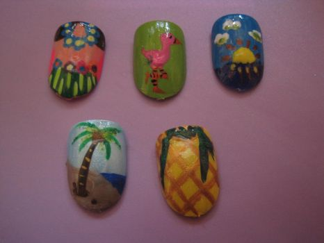 Tropical Theme Nails by hatterlet