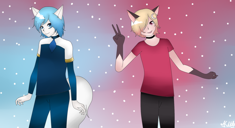 Wolfy and Lun or Male Wolfychu and Male Luna by Karia-Art-MEME