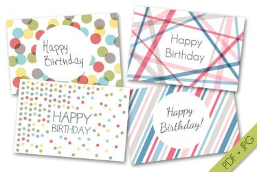Happy Birthday Cards Set#1 by byjanam