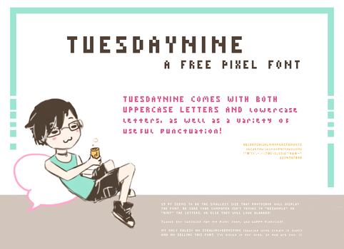 TUESDAYNINE (free pixel font) by silverheart-nine