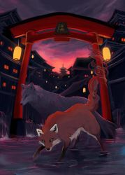 Fox and Wolf protecting a city by Aerinn-I