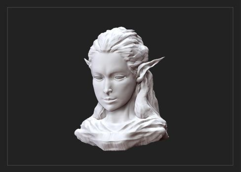 Elf Girl Bust Sculpt 01 by aaronflorento