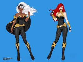 Modern Storm Ororo Monroe and Jean Grey by marvelboy1974
