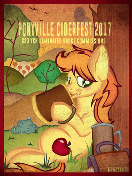 Ponyville Ciderfest 2017 YCH Badge Commissions by KrazyKari