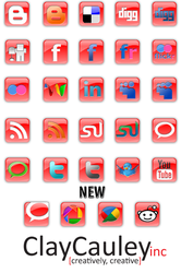 Red Square Social Media Icons by claycauleyinc