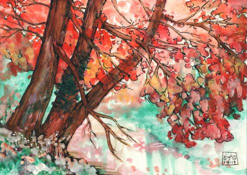 Watercolor Trees by Leharc--BlueHeart