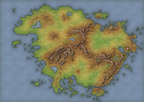 Worldbuilding Continent Map WIP - 2 by lancedART