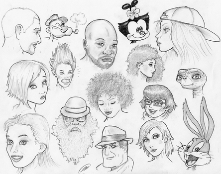 Face Sketches 180404 by TheMightyGorga