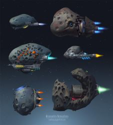 Asteroid spaceships by Sedeptra