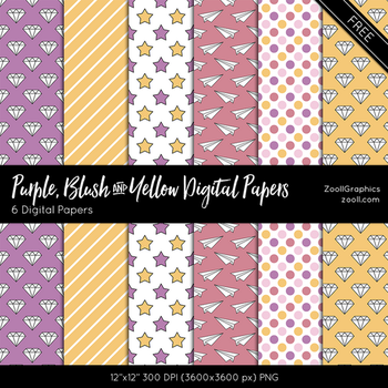 Purple, Blush And Yellow Digital Papers by MysticEmma