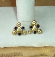 Zora Sapphire Swarovski 14K Gold Post Earrings LOZ by TorresDesigns