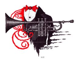 Passion of Trumpet surreal pen ink drawing by Vitogoni