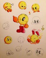 Pac-man Expression Sheet by SoftieSkylo