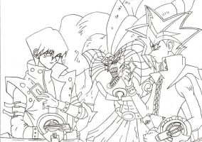 Yugioh Vs Kaiba sketch by l3xxybaby
