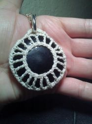 Crochet Netted Obsidian Pendant by WingedMidnight88