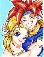 Crono and Marle, portrait. by Wikitt