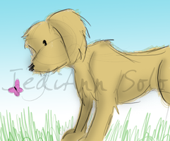 Puppy and a Butterfly by JediAnnSolo