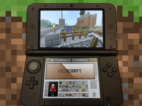 Minecraft runing on a Nintendo 3DS by Blenden92