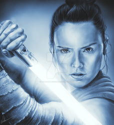 Drawing of Daisy Ridley as Rey by Pandoras-Encore