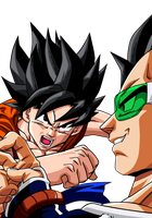 Son Goku and Raditz by Dark-Crawler