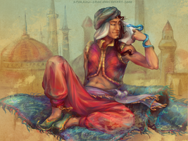 Arabian mage on flying carpet by sparrow-chan