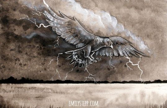 Inktober 2017 Cloud / Thunderbird by EmilyStepp