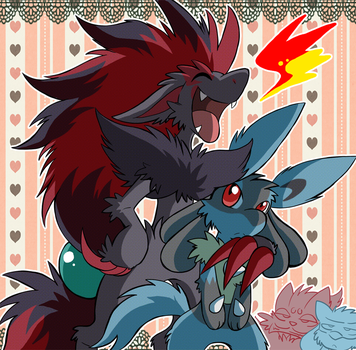 Zoroark and Lucario do Ouch again by SoftMonKeychains