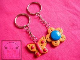 Butterfly and Flower Cookie Keychain Set by efeeha