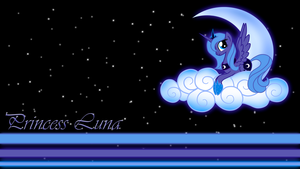 Princess Luna on the Clouds Wallpaper by BlueDragonHans