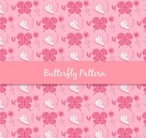 Painted pink butterfly and floral seamless backgro by FreeIconsdownload