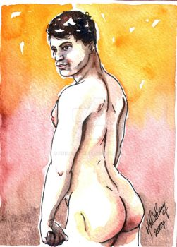 Male Nude. Red + Yellow 4 by Pinkpasty